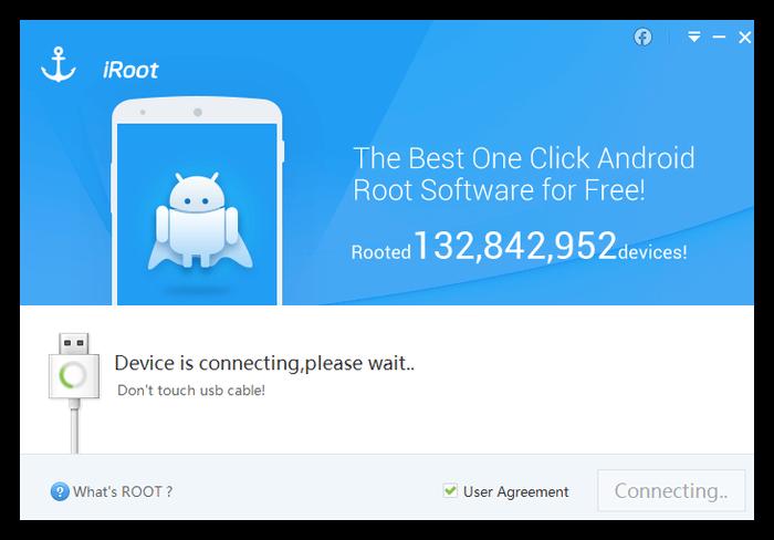 Процесс подключения девайса к ПК в iRoot