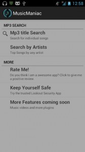 Download songs with Music maniac app for Android