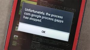 com.google.process.gapps has stopped