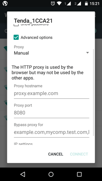 proxy while connecting to a WiFi network