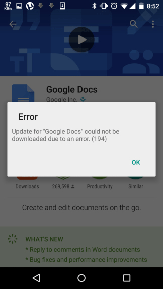 download error 194 android