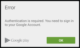 U201cAuthentication Is Requiredu201d Error In Google Play Store