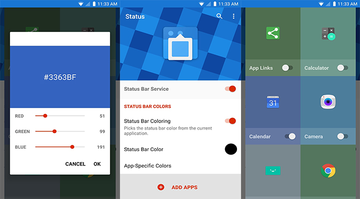 How to change stock status bar to material design