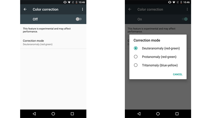 How to enable screen filters for Color Blindness in Android