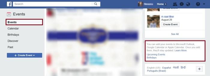 Useful Facebook Settings - Sync Calendar