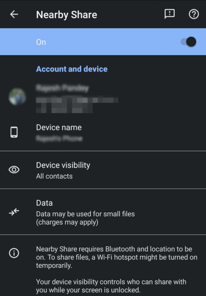 se Nearby Share on Android