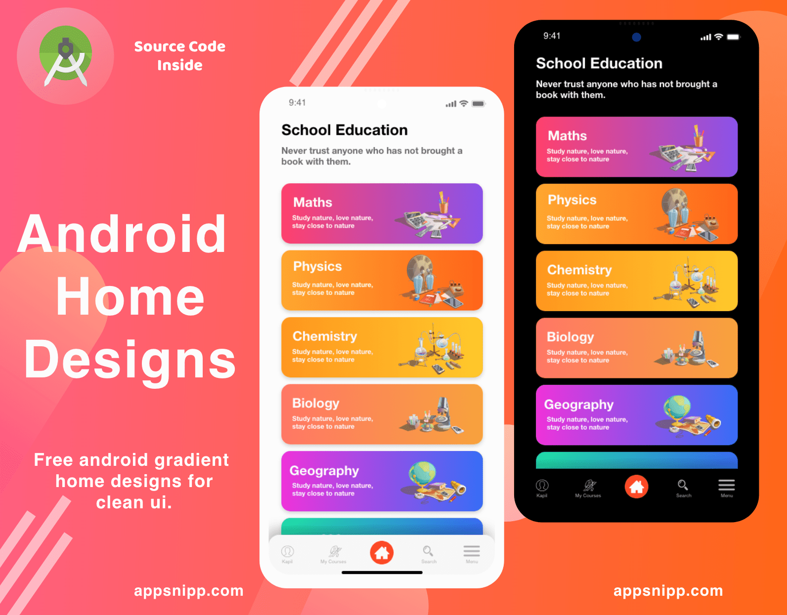 Free Multipurpose Home design with dark mode for android (Xml,Java)