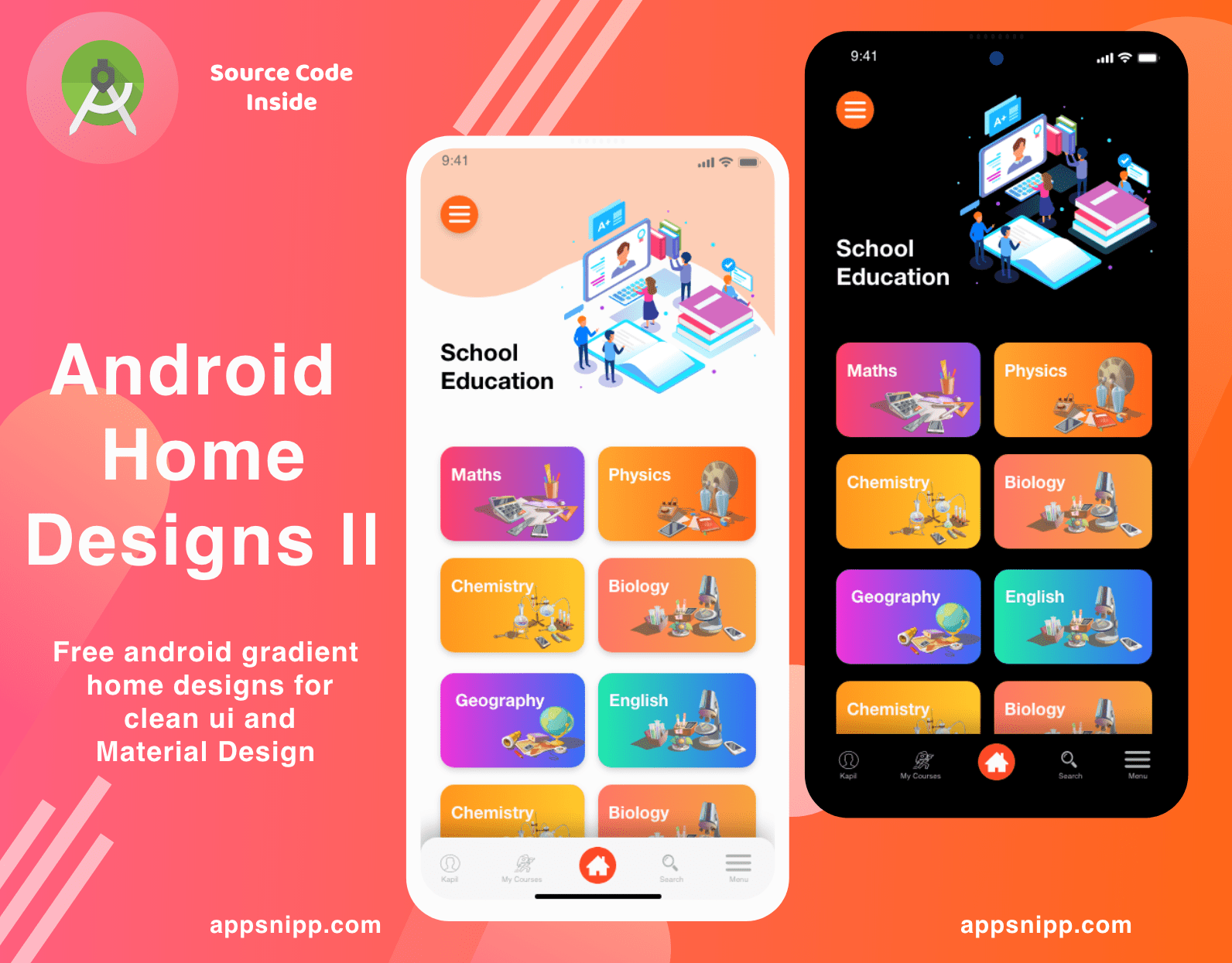 Free clean UI home designs with dark mode Android – source code included (XML,Java)