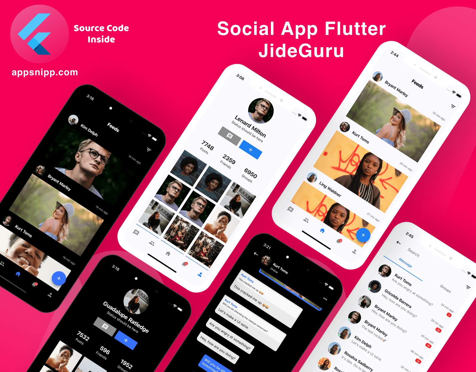 Free Flutter Social App UI Kit with Dark Mode by JideGuru