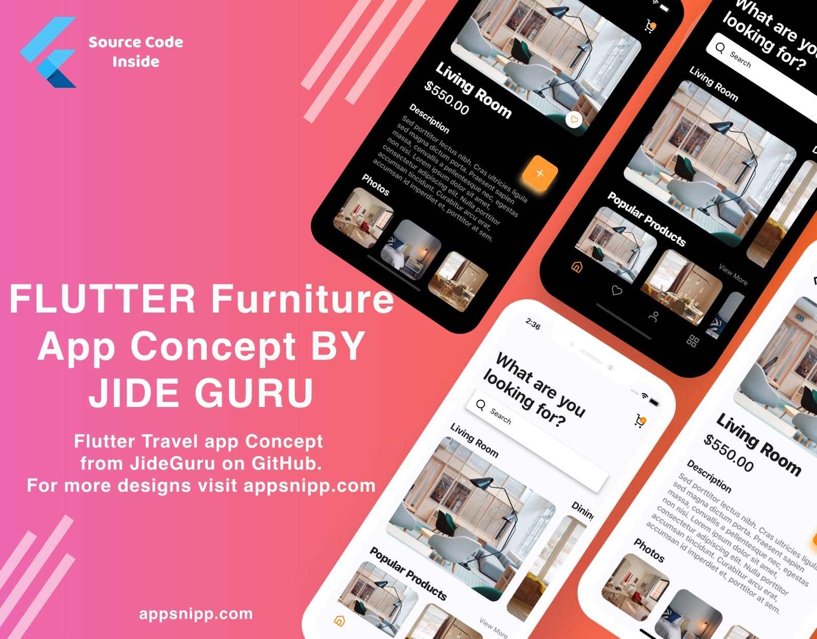 Free Flutter Furniture / eCommerce App UI Kit by Jide Guru