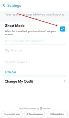 Enabled Snapchat Ghost Mode