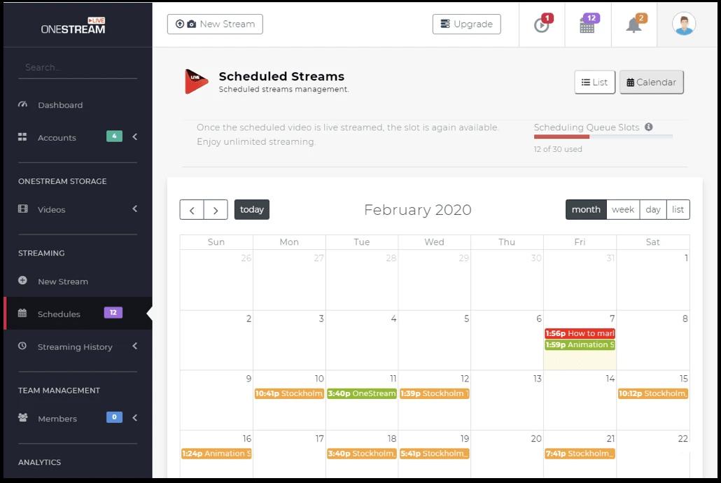 OneStream live streaming Schedule option