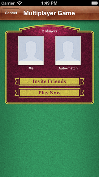Game Center multiplayer match maker view controller screenshot.