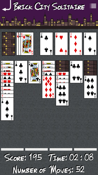 Brick City Solitaire iOS app screenshot of in progress game..