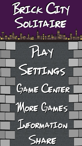 Brick City Solitaire iOS app screenshot of the main menu.