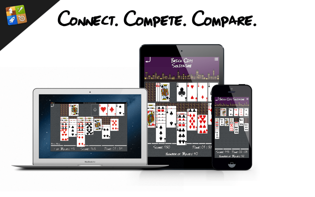 Image of Brick City Solitaire running on a Macbook Pro, an iPad, and an iPhone with Game Center logo in the upper left corner.