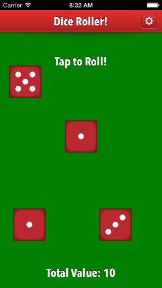 Dice Roller app four die value of 10 screenshot.