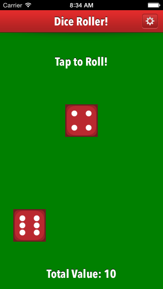 Dice Roller app two die iPhone 5 screenshot