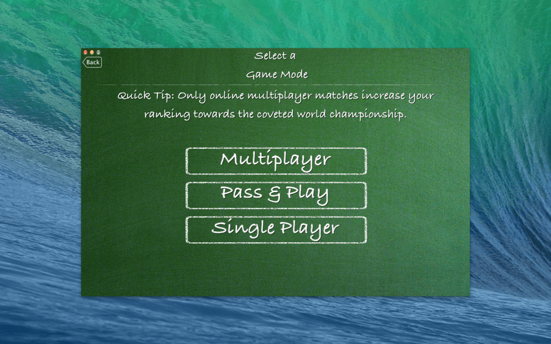 "Screenshot of the ""Select a Game Mode"" menu in the Tic Tac Toe World Championship Mac app."