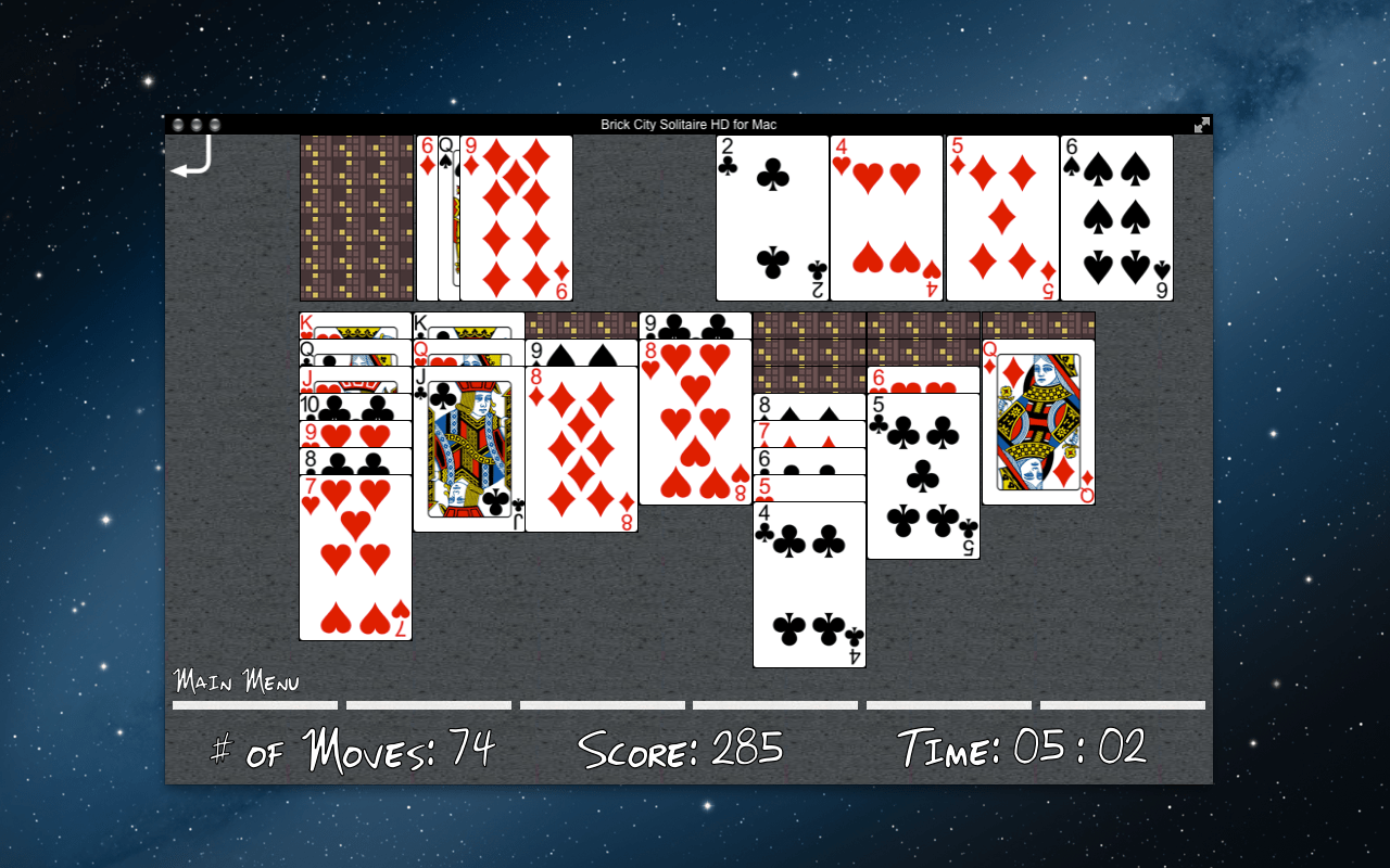 Brick City Solitaire Mac App Screenshot of in progress game.