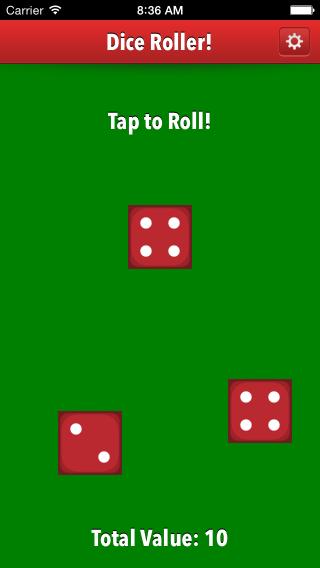 Dice roller app 3 die value of ten screenshot.