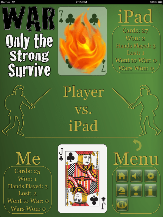 War the Ultimate Multiplayer Experience iPad app screenshot.