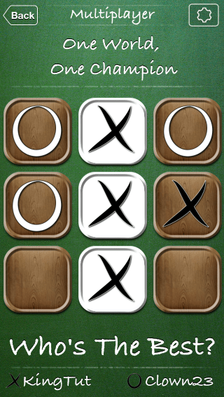 Tic Tac Toe World Championship iOS app screenshot of ended game.