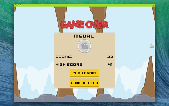 Tappie Plane Mac App screenshot of the Game Over menu.