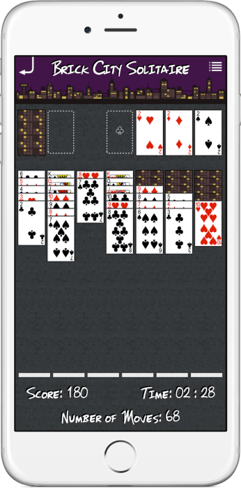 Brick City Solitaire running on iPhone 6 Plus.