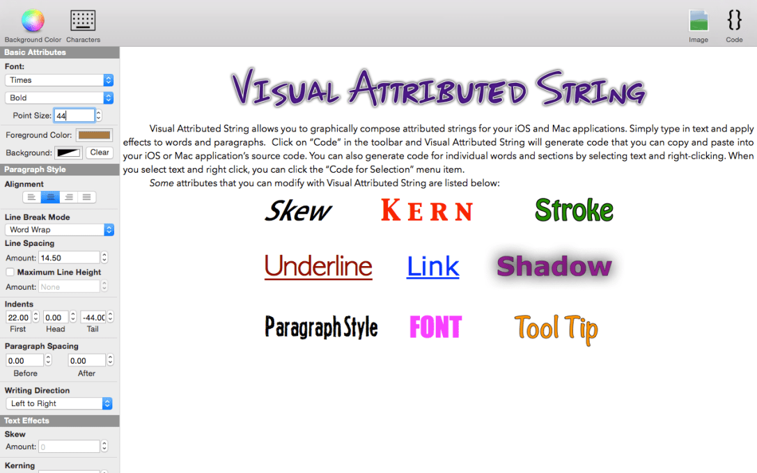 Visual Attributed String Mac app screenshot of document window showing some editable attributes.