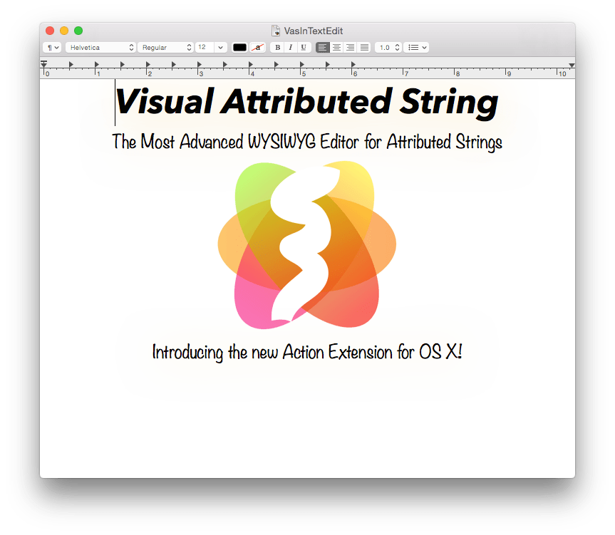 Visual Attributed String OS X action extension in TextEdit document.