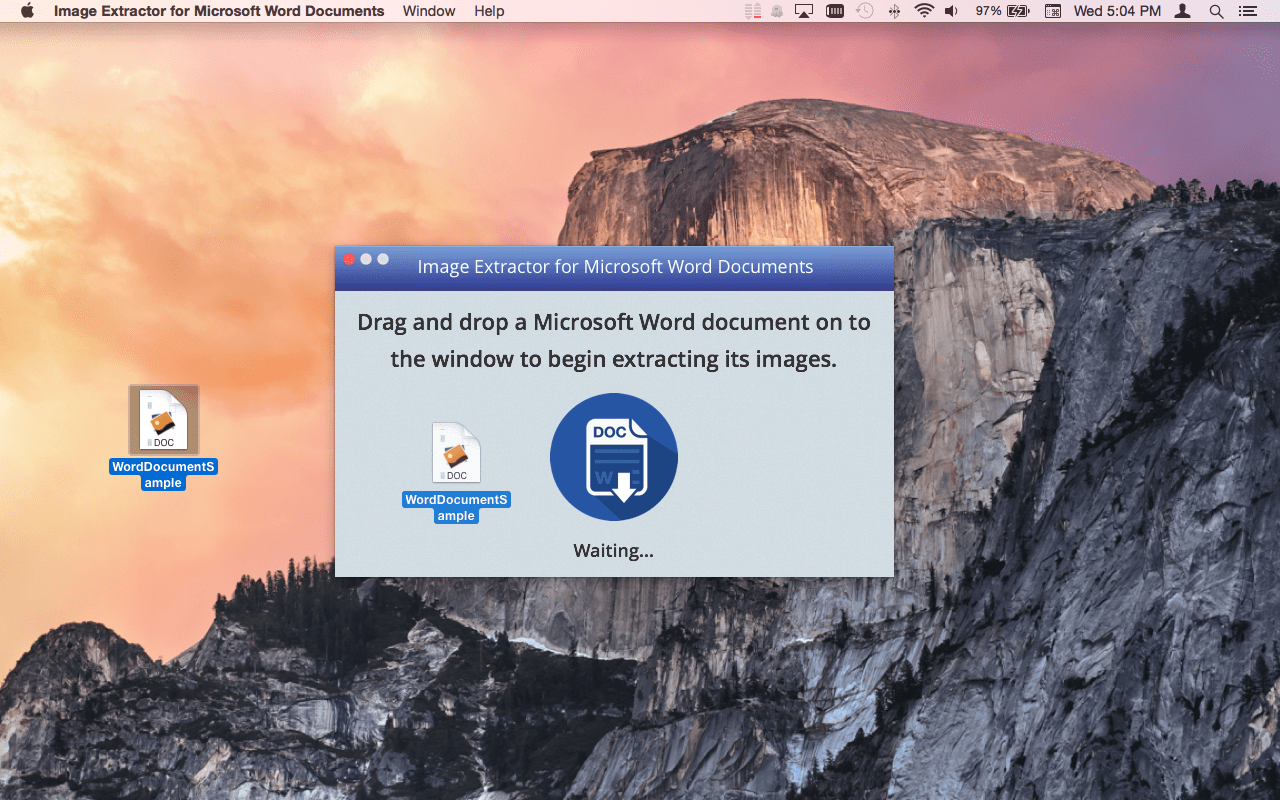 Image Extractor for Microsoft Word Documents Mac app screenshot of .doc file being dragged onto the window.