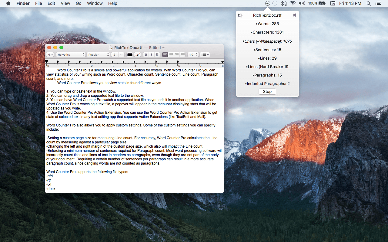 Word Counter Pro Mac app screenshot showing the app watching a text file.