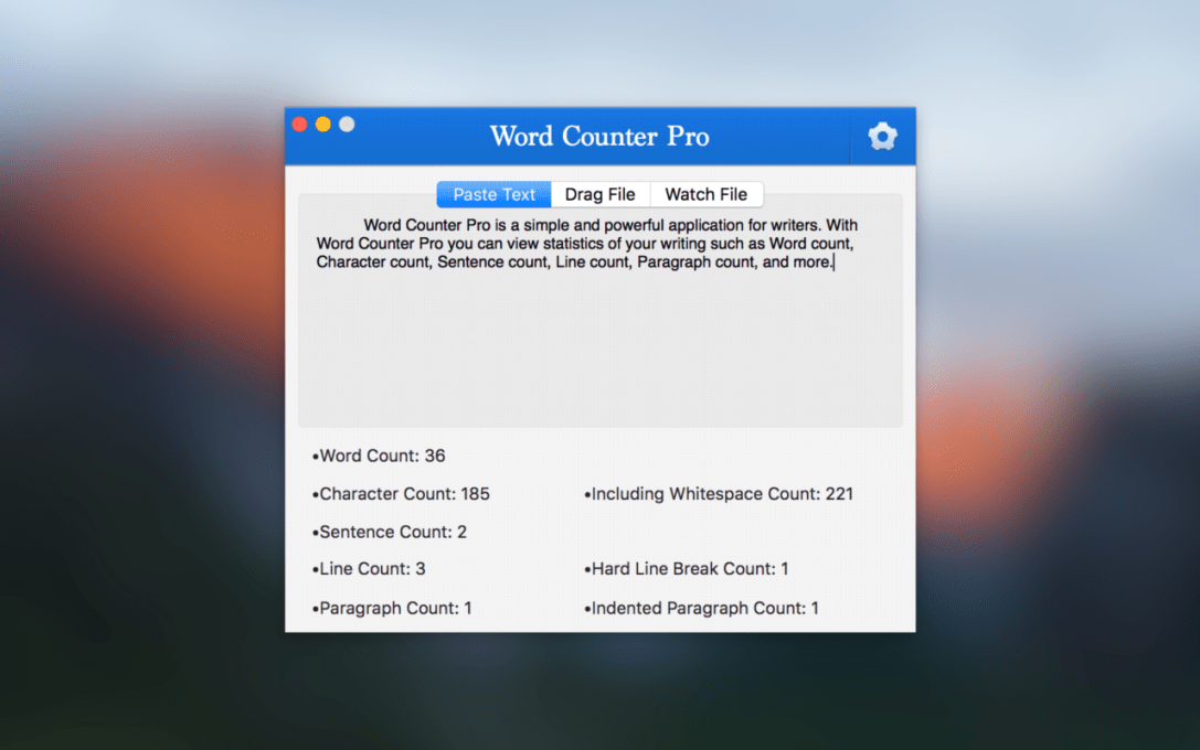 Word Counter Pro Mac app screenshot on blurred OS X EL Capitan background.