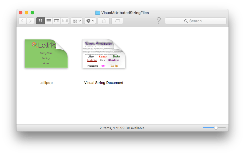 Visual Attributed String documents in Finder window.