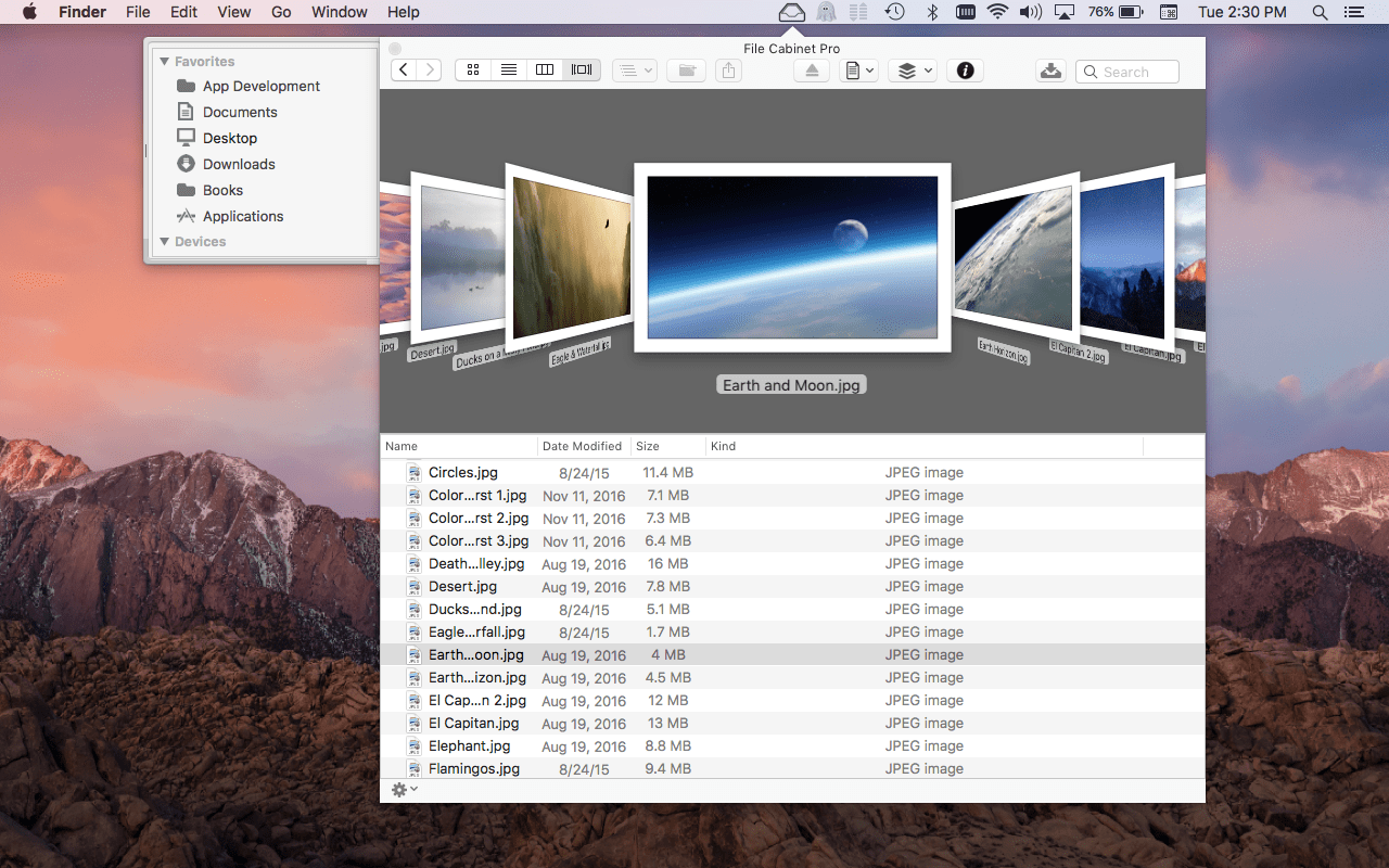 File Cabinet Pro Mac App Screenshot Of Cover Flow View.