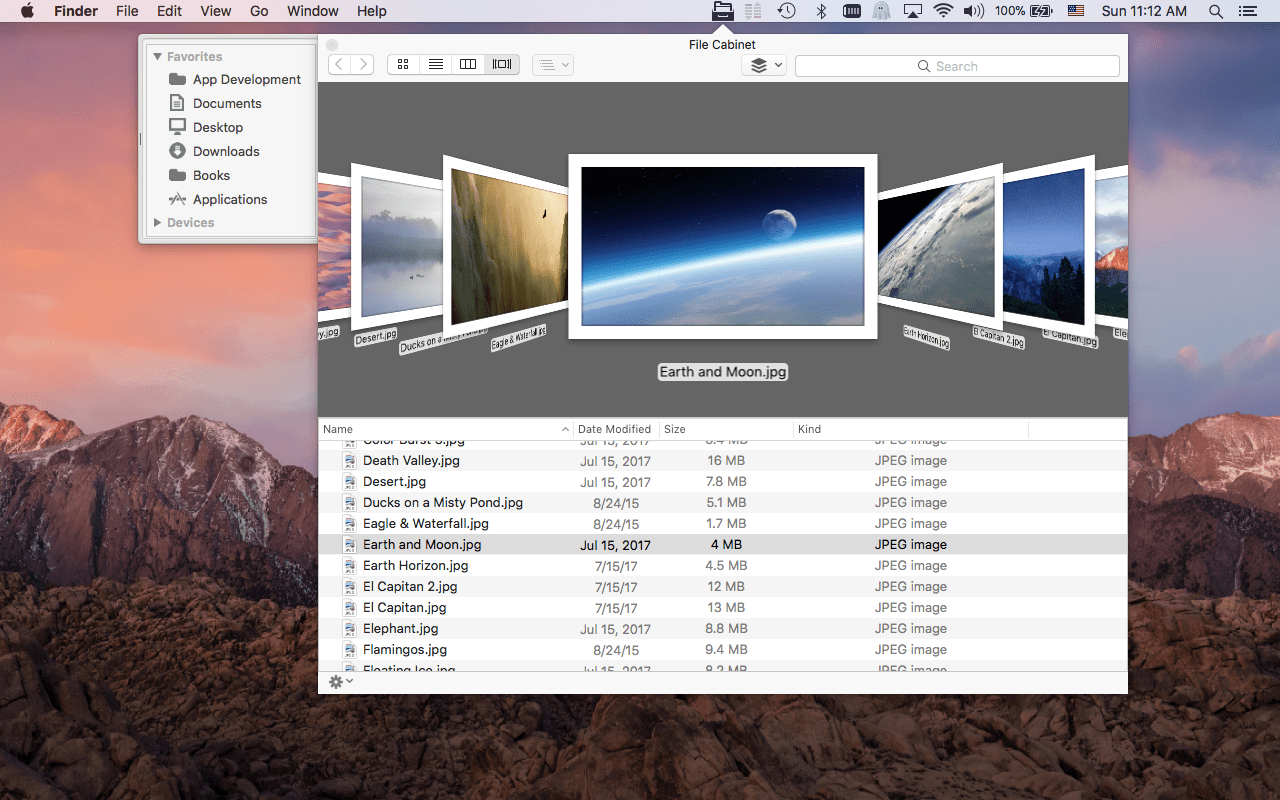 Delightful File Cabinet Pro Mac App Screenshot Of Cover Flow View.