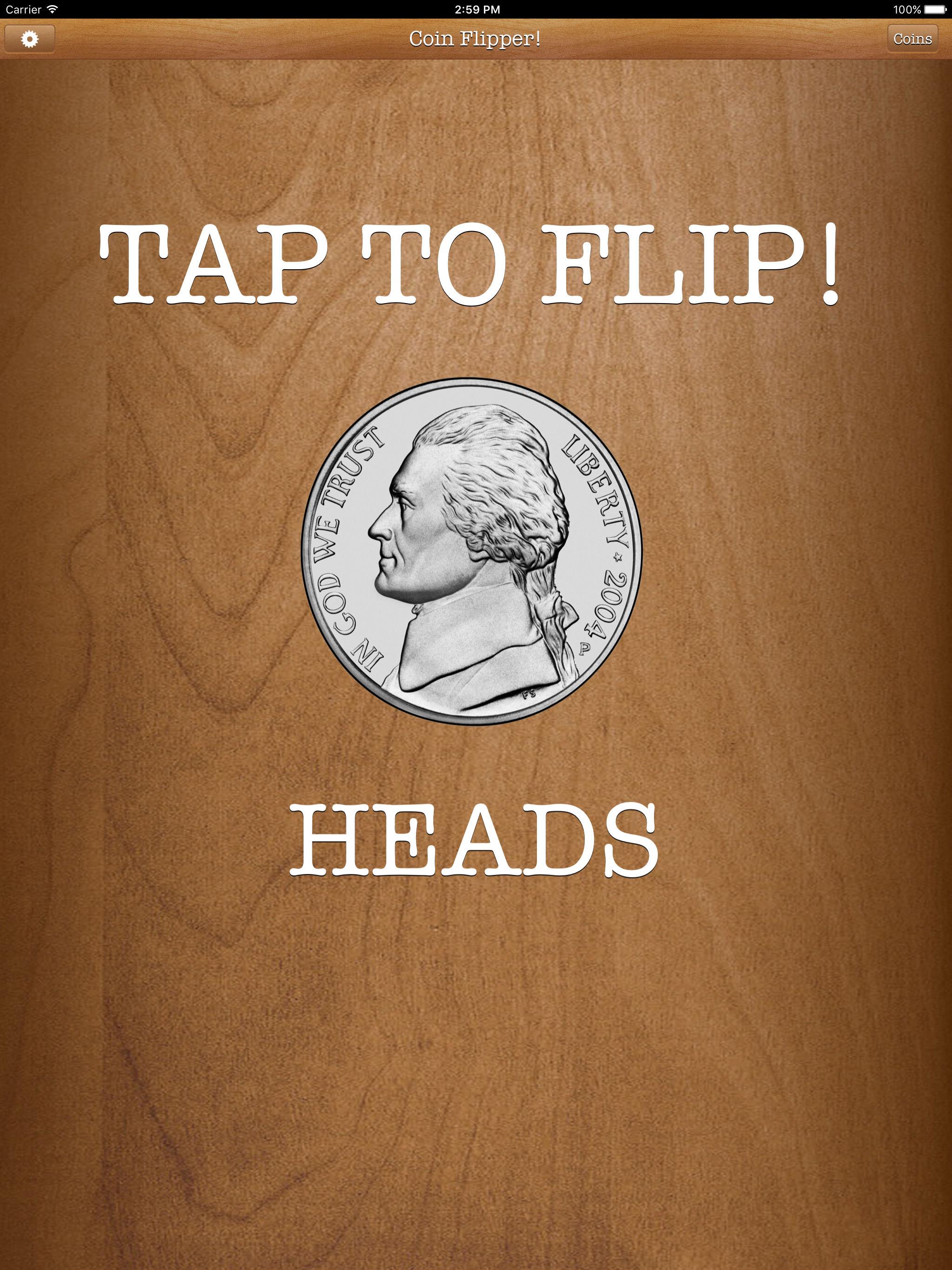 Flip a Coin App nickel on heads iPad Pro screenshot.