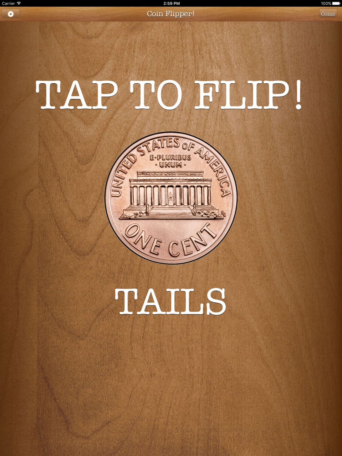 Flip a Coin App iPad Pro screenshot penny on tails.