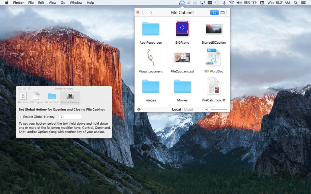 File Cabinet Pro Mac App screenshot showing Global hotkey tab selected in settings.