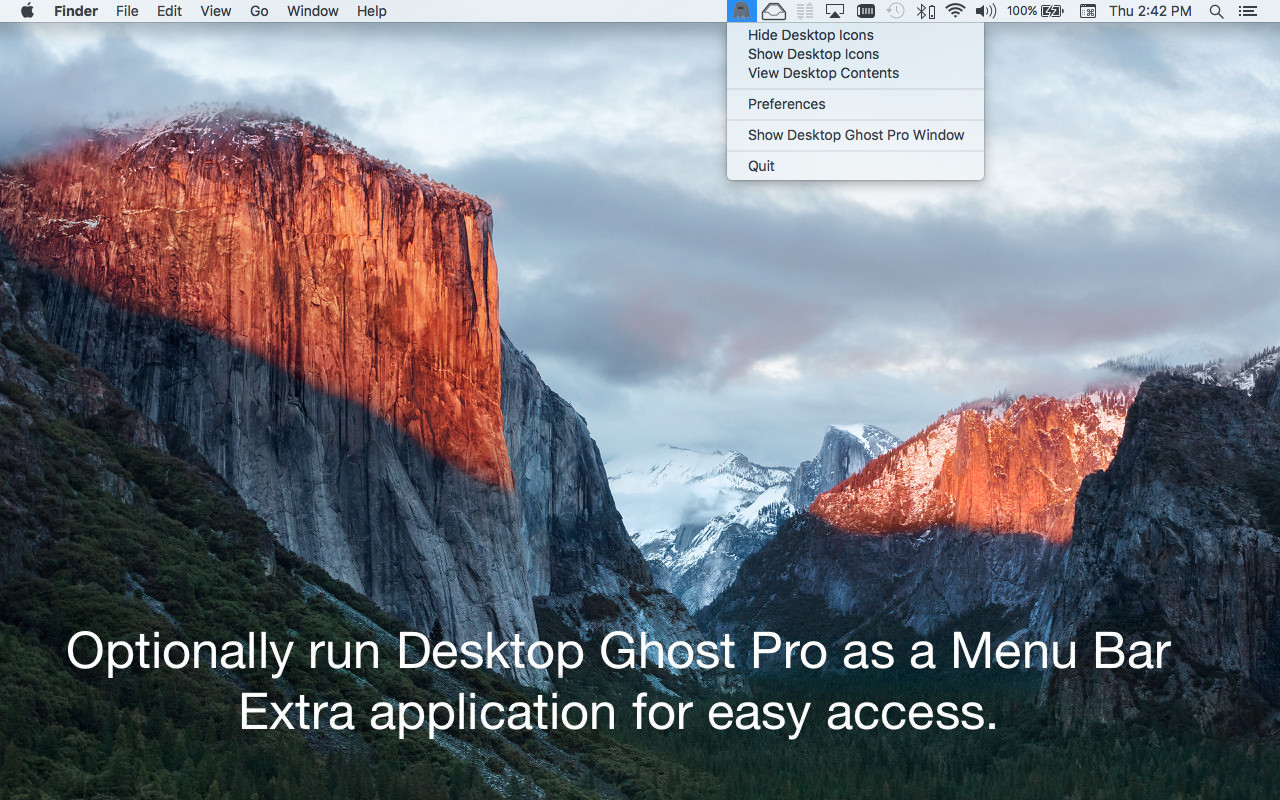 Desktop Ghost Pro version 1.5 Mac App screenshot running as a menubar app.