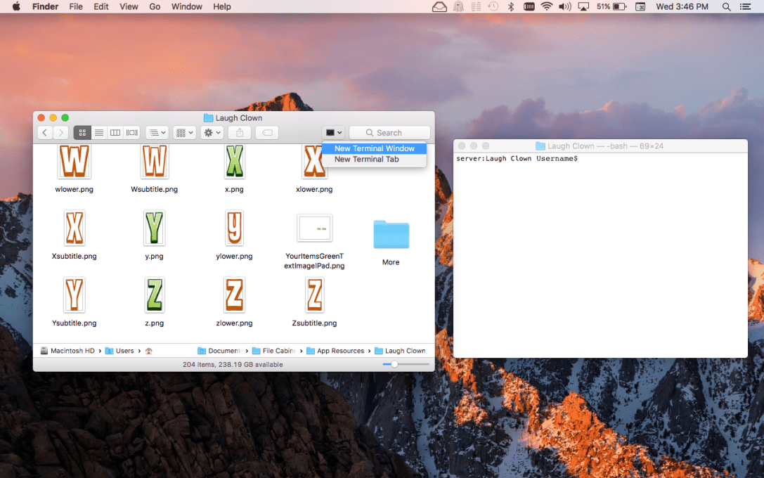 Current Directory Window for Terminal Mac App Screenshot Finder toolbar pull down button.