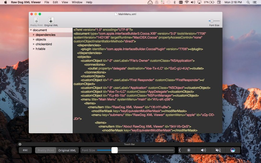 Raw Dog XML Viewer Mac app screenshot showing touch bar simulator.