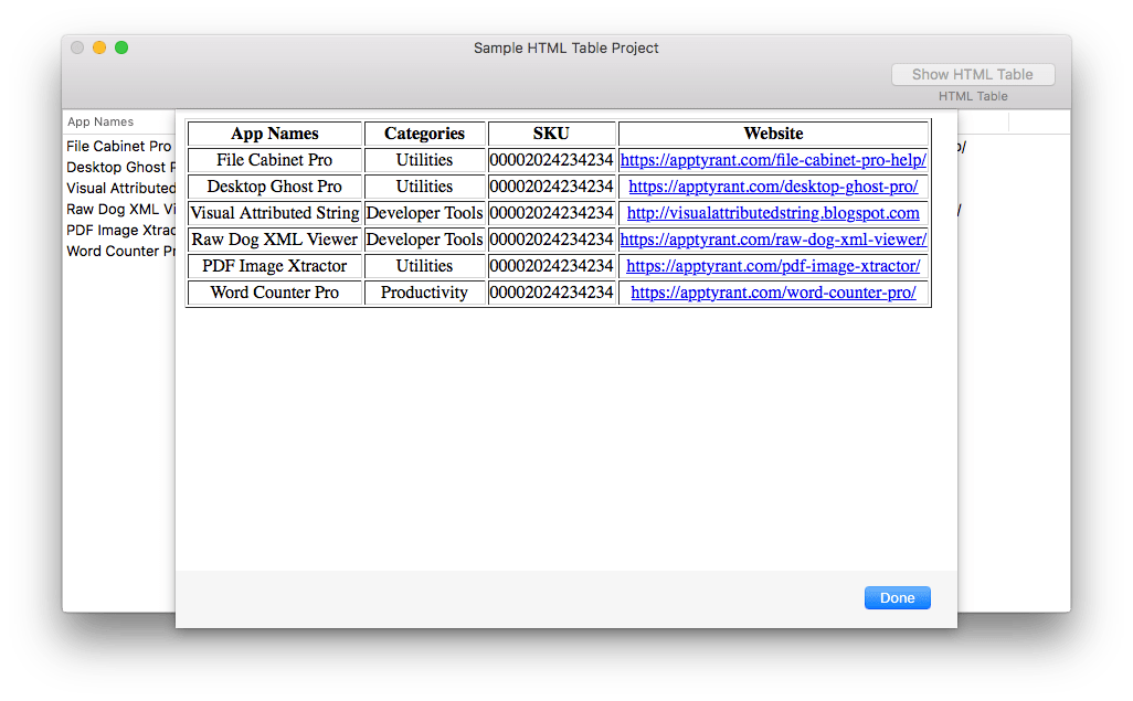 Screenshot of exported HTML from a the tableView, loaded into a WebView.