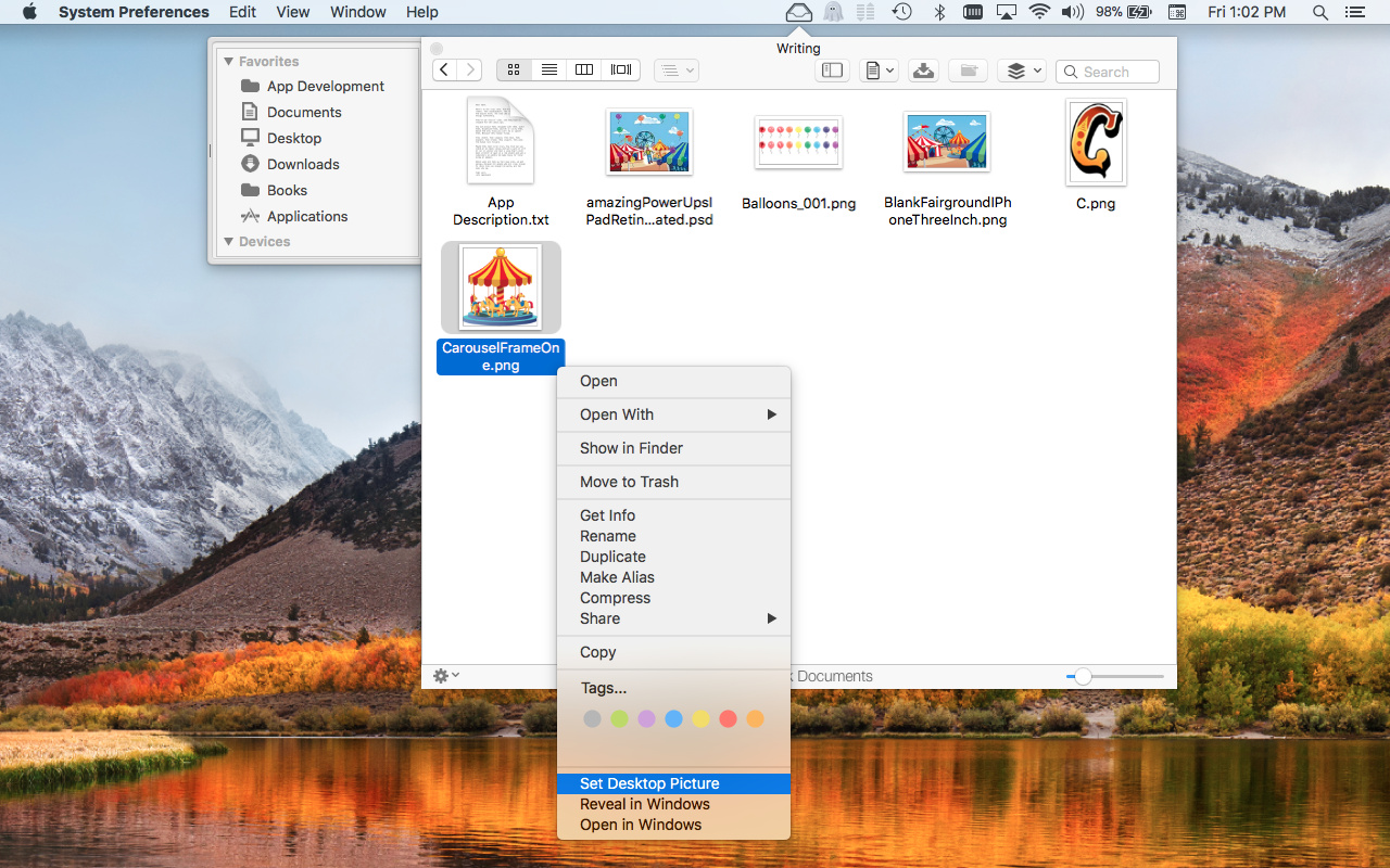 File Cabinet Pro Mac App screenshot showing Services in context menu.