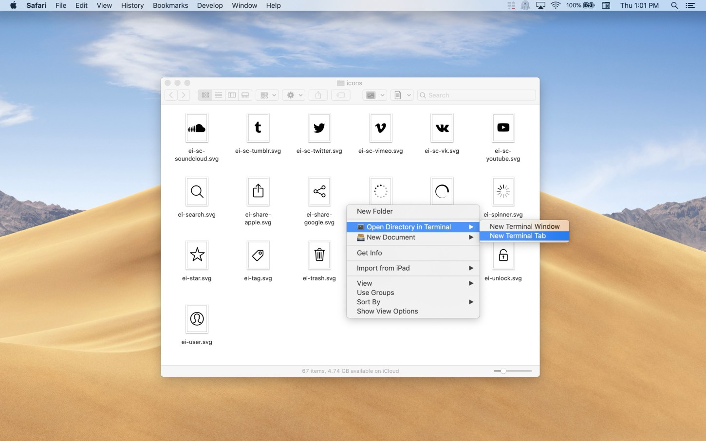 Open Directory in Terminal Mac app screenshot of context menu showing in light mode.