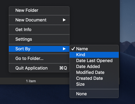 File Cabinet Pro Mac app screenshot showing context menu exposed with Sort By submenu exposed.