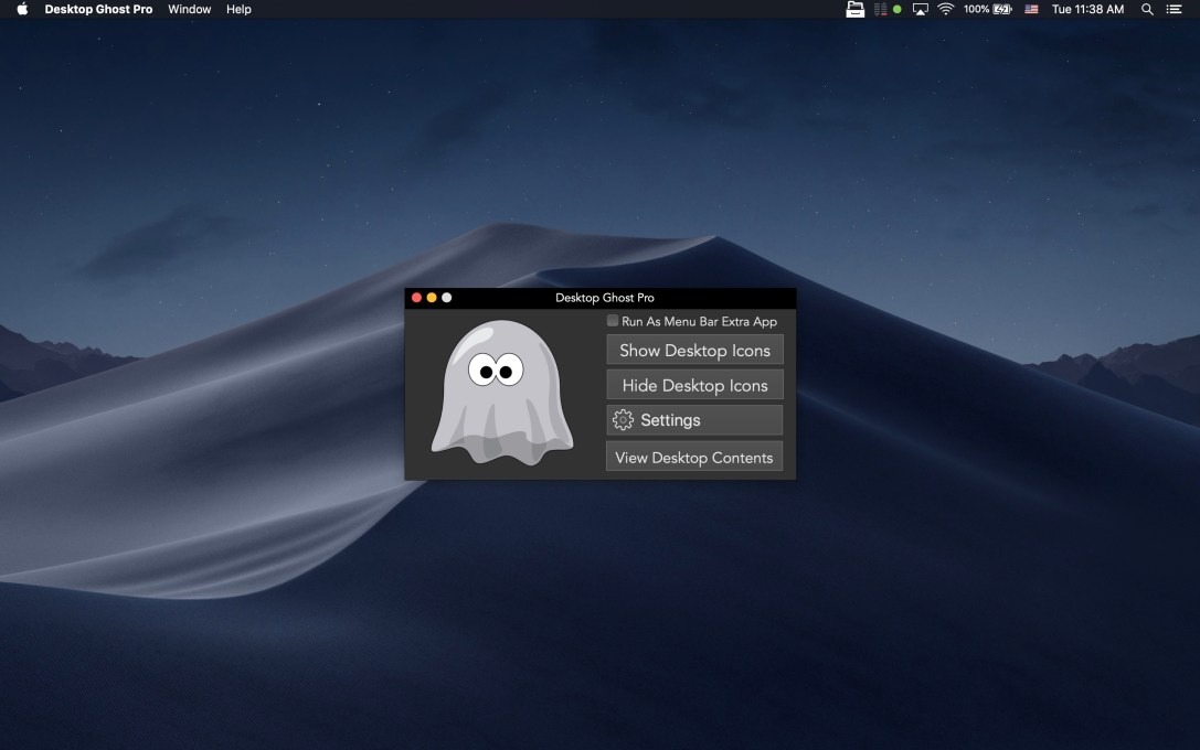 Desktop Ghost Pro Mac app screenshot in dark mode.