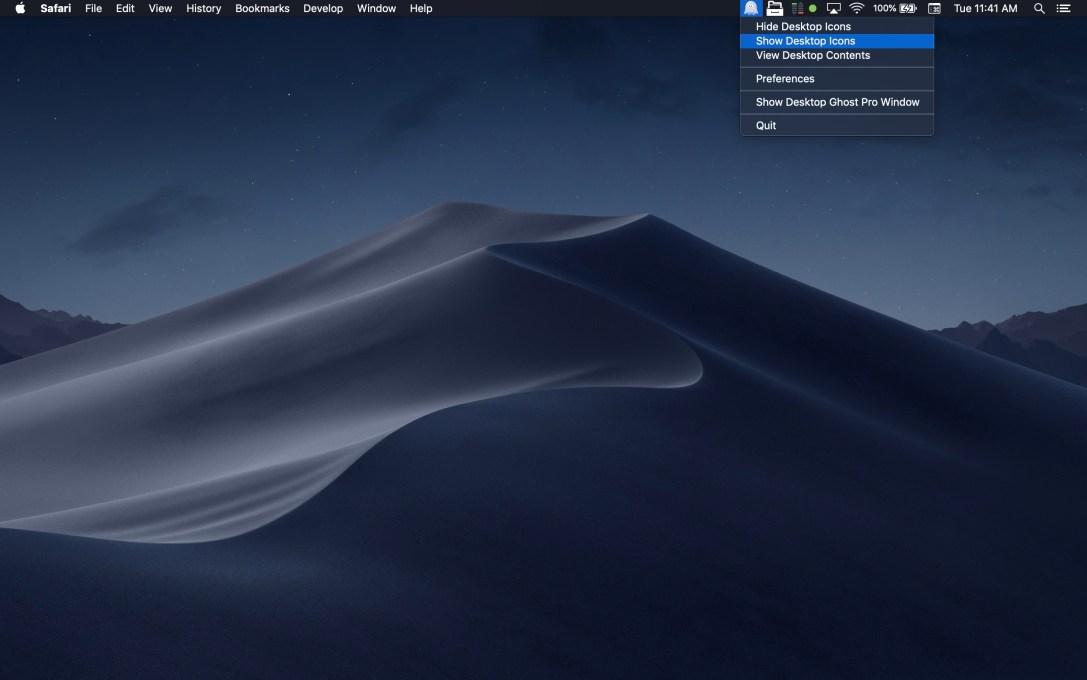 Desktop Ghost Pro Mac app screenshot in dark mode as menu bar app.