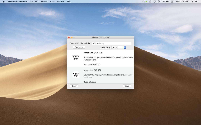 Favicon Downloader Mac app screenshot showing Wikipedia icons.
